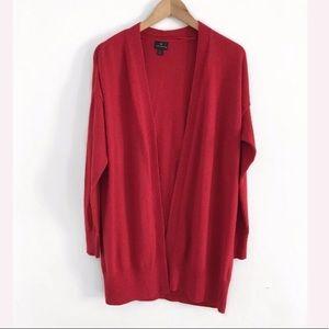 Worthington red open cardigan size L